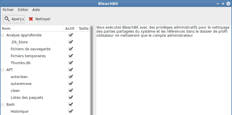 BleachBit Interface